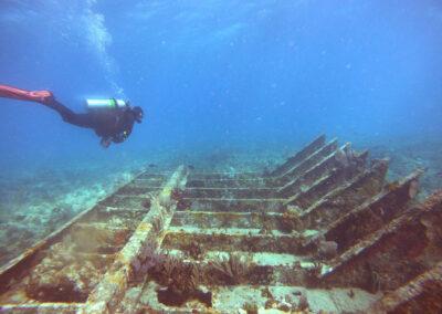 Exploring a wreck dive at Key Largo.